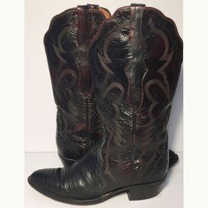LUCCHESE Burgundy Ostrich Cowgirl Boots Size 7